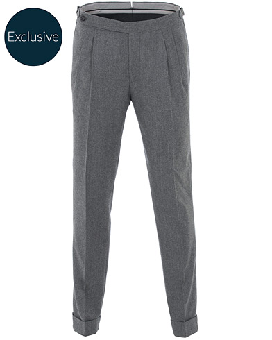 Morris Heritage Carl Double Pleated Flannel Trousers Grey 46