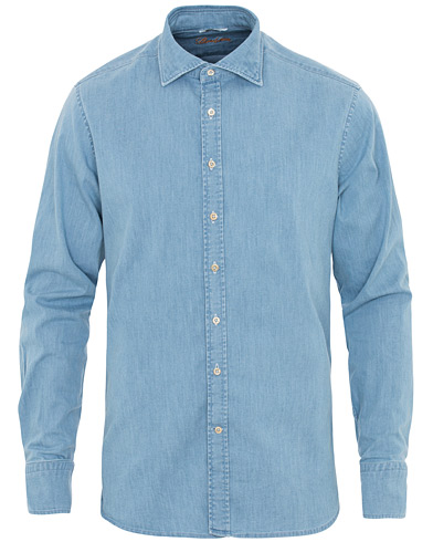 Stenströms Fitted Body Garment Washed Shirt Light Denim