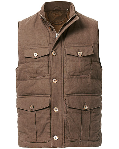 Stenströms Cotton/Linen Quilted Vest Brown