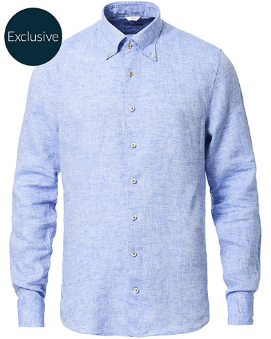 Stenströms Slimline Button Down Linen Shirt Light Blue