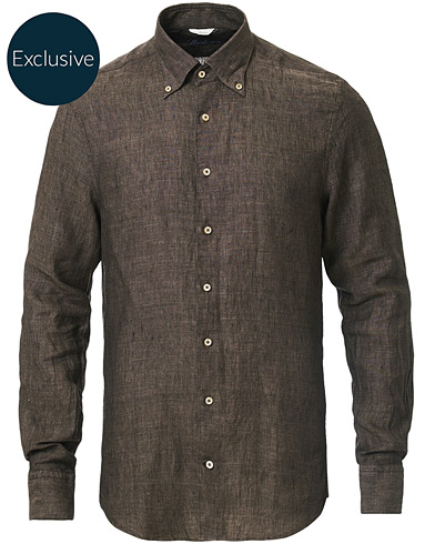 Stenströms Slimline Button Down Linen Shirt Brown
