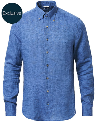 Stenströms Slimline Button Down Linen Shirt Blue i gruppen Tøj / Skjorter / Casual hos Care of Carl (16680311r)
