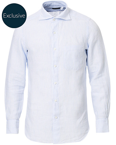 Finamore Napoli Tokyo Striped Linen Pocket Shirt White/Light Blue i gruppen Tøj / Skjorter / Casual hos Care of Carl (16685711r)