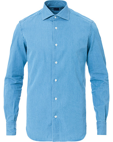 Mazzarelli Washed Denim Cut Away Shirt Light Blue