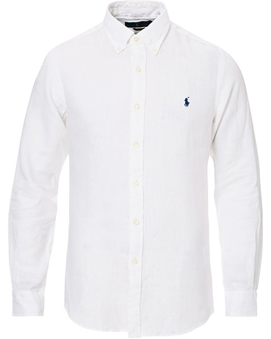 Polo Ralph Lauren Slim Fit Linen Button Down Shirt White