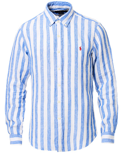 Polo Ralph Lauren Slim Fit Linen Stripe Shirt White/Blue