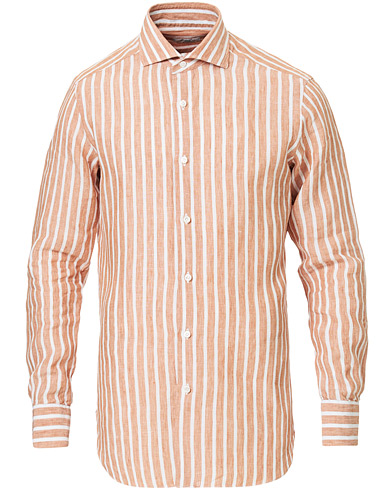 Barba Napoli Culto Slim Fit Striped Linen Shirt White/Orange