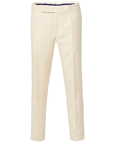 Ralph Lauren Purple Label Side-Adjuster Linen/Silk Trousers Beige i gruppen Tøj / Bukser / Pæne bukser hos Care of Carl (16975211r)