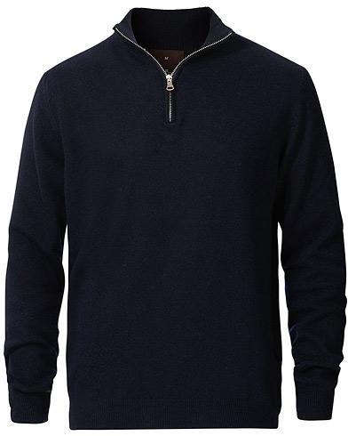 Oscar Jacobson Patton Wool/Cashmere Half Zip Navy
