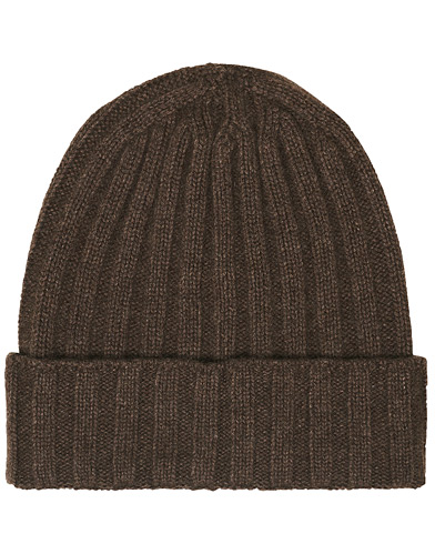 Oscar Jacobson Cashmere Ribbed Beanie Brown