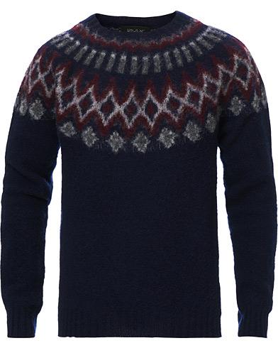 Howlin' Brushed Wool Fair Isle Crew Sweater Navy