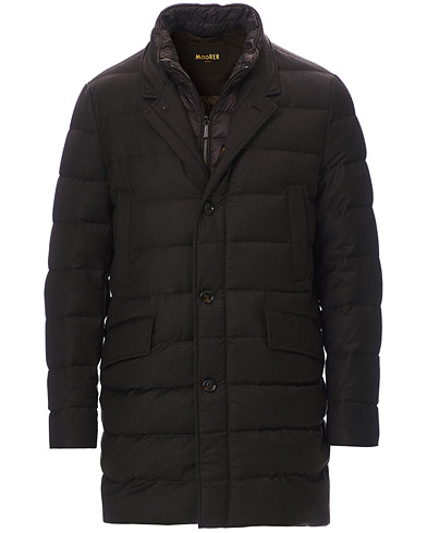 MooRER Padded Flannel Coat Brown i gruppen Tøj / Jakker / Dunjakker hos Care of Carl (19647911r)