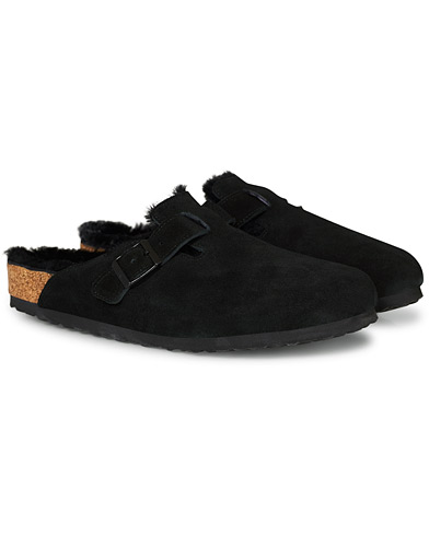 BIRKENSTOCK Boston Fur Lining Black Suede