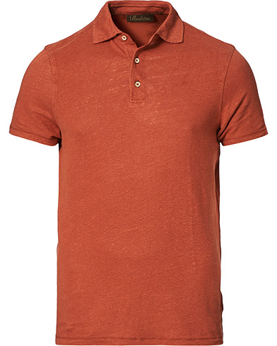 Stenströms Linen Polo Shirt Rust
