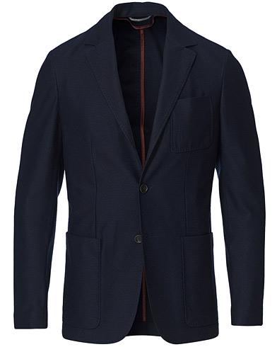 Canali Structured Wool Jersey Blazer Navy