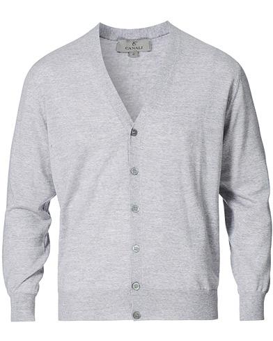 Canali Merino Wool Cardigan Light Grey