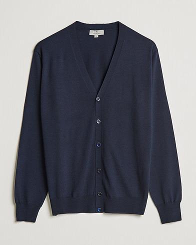 Canali Merino Wool Cardigan Navy