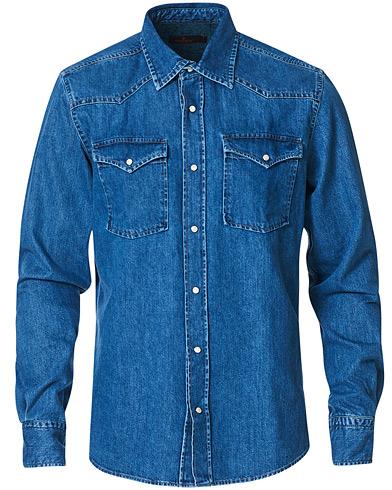 Morris Walton Western Denim Shirt Blue