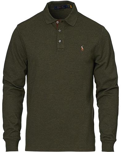 Polo Ralph Lauren Luxury Pima Cotton Long Sleeve Polo Alpine Heather