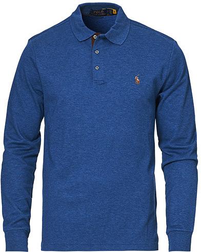 Polo Ralph Lauren Luxury Pima Cotton Long Sleeve Polo Blue Heather