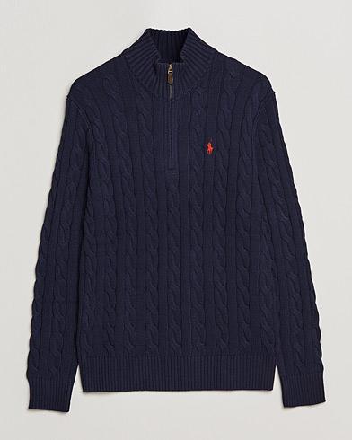 Polo Ralph Lauren Cotton Cable Half Zip Sweater Hunter Navy