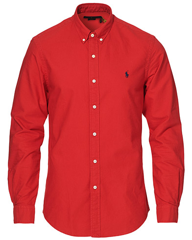 Polo Ralph Lauren Slim Fit Garment Dyed Oxford Shirt Red