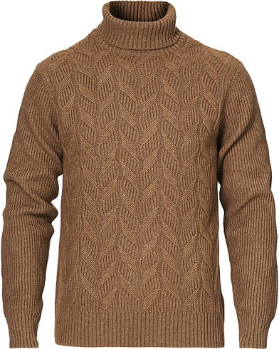 Oscar Jacobson Samir Wool/Cashmere Knitted Roll Neck Brown