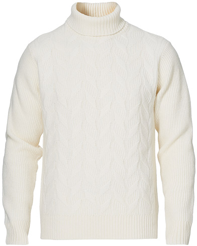 Oscar Jacobson Samir Wool/Cashmere Knitted Roll Neck White