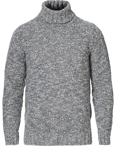 Oscar Jacobson Kristopher Heavy Knitted Roll Neck Grey