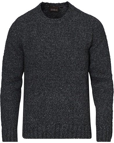 Oscar Jacobson Valter Heavy Knitted Round Neck Charcoal