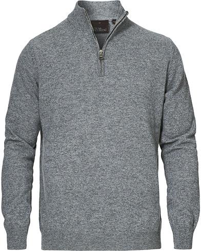 Oscar Jacobson Patton Wool/Cashmere Half Zip Light Grey