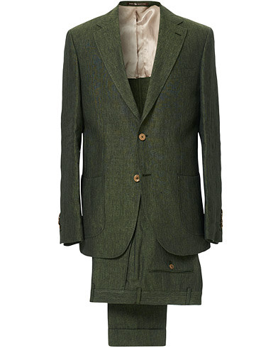 Mike Patch Pocket Linen Suit Green