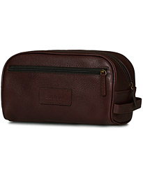 Barbour Lifestyle Leather Washbag Dark Brown