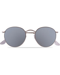 Ray-Ban 0RB3447 Round Sunglasses Matte Silver/Silver Mirror