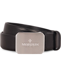 Morris Plated Logo Leather 3,5 cm Belt Black
