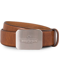 Plated Logo Leather 3,5 cm Belt Mid Brown