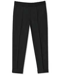Terry Gabardine Cropped Turn Up Trousers Black