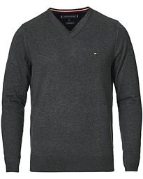 Tommy Hilfiger Cotton/Silk V-Neck Pullover Charcoal Heather