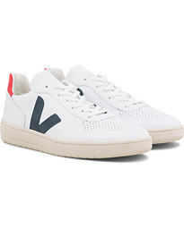 Veja V-10 Leather Sneaker Extra White/Nautico Pekin