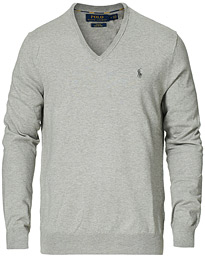 Polo Ralph Lauren Pima Cotton V-neck Pullover Andover Heather