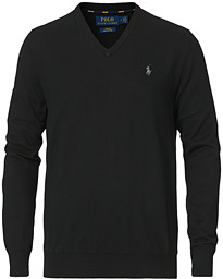 Polo Ralph Lauren Pima Cotton V-neck Pullover Polo Black