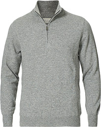 Piacenza Cashmere Cashmere Half Zip Sweater Light Grey