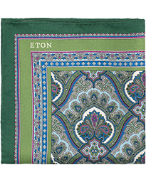 Eton Silk Paisley Print Pocket Square Green