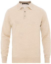 Morris Heritage Long Sleeve Polo Shirt Off White