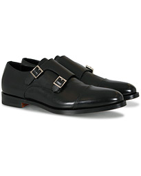 Santoni Wilson Double Monk Black Calf