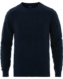 GANT Lambswool Cable Crew Neck Evening Blue