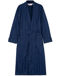 Striped Cotton Satin Dressing Gown Navy/Navy