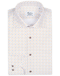 Stenströms Fitted Body Printed Cut Away Shirt White/Brown