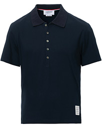 Thom Browne Side Slit Short Sleeve Polo Navy