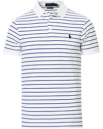 Polo Ralph Lauren Slim Fit Stretch Mesh Stripe Polo Navy/White
